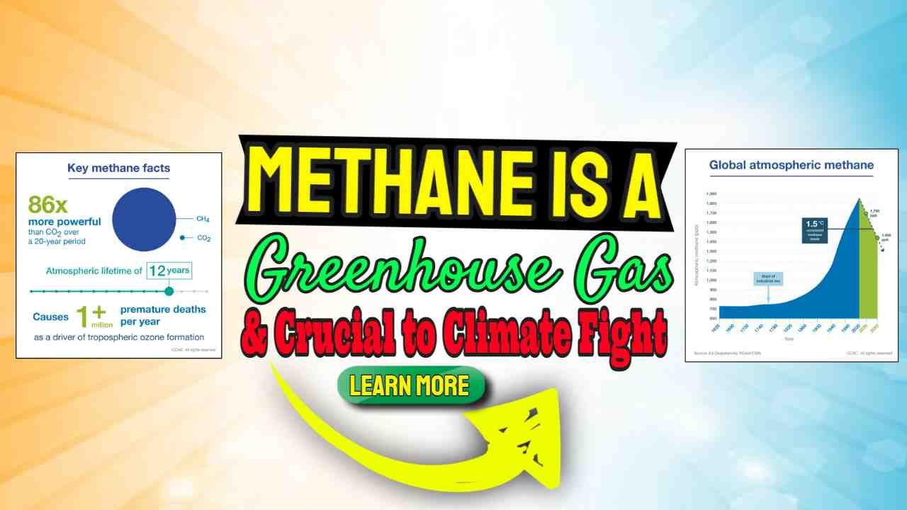 """Image text: """"Methane is a greenhouse gas crucial to climate fight""""."""
